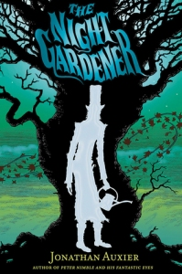 Old tree The night gardener man in top hat with watering can