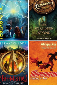 Four book covers Telsa's attic two kids looking at lightning The forbidden stone boy at top of stairs Ash Mistry boy with Indian god Finding the fox foxes running with boy