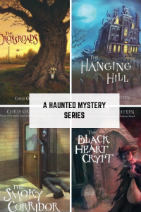 A Haunted Mystery series four books The crossroads big tree The hanging hill haunted mansion The smoky corridor zombie opening door body on floor The black heart crypt scarecrow with bag