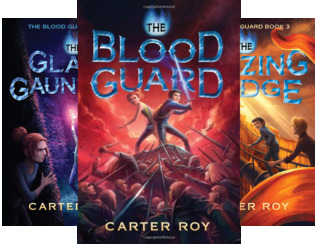 3 books Blood Guard middle left Glass Gauntlet right back Blazing bridge two kids fighting with swords