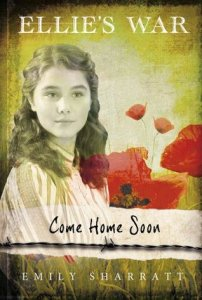 Come home soon girl with long hair poppies behind her