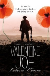 Valentine Joe soldier holding rifle in field two poppies on sides