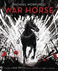 War horse large black horse running through battlefield red poppies on ground
