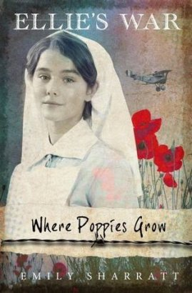 Where poppies grow girl as nurse poppies and bi-plane behind