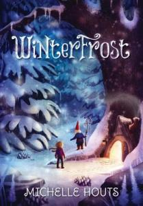 Winterfrost snowy landscape huge tree gnome with rod girl with scarf entering house inside tree