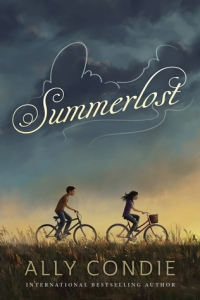 Summerlost dark sky with clouds girl and boy on bikes