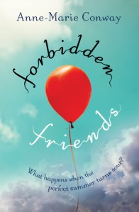 Forbidden friends red balloon floating into sky clouds below