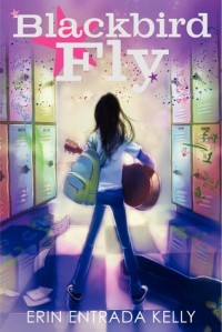 Blackbird fly girl with guitar and backpack facing hallway purple star