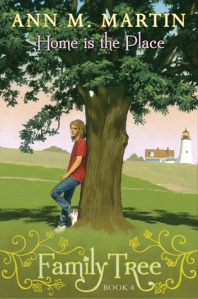 Home is the place girl leaning on tree on grass lighthouse in back