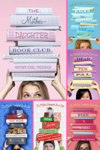 Six grids with book covers girls with pile of books on top of their heads
