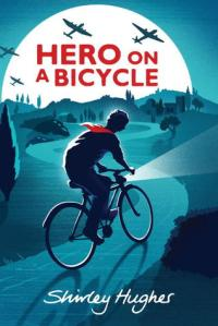 Hero on a bicycle boy on bicycle with red scarf on hilly road planes overhead over moon
