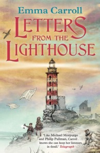 Letters from the lighthouse red and white lighthouse two children walking dog planes overhead