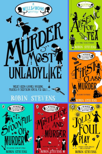 Six grid covers Murder most unladylike series two girls with detectives icons around them