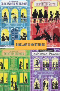 Sinclair's mysteries 4 grid sihouettes in windows men in top hats and fancy dresses on women