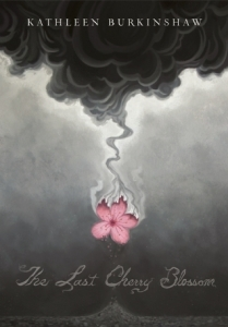 The last cherry blossom black cloud falling red flower ashes from flower trickling down