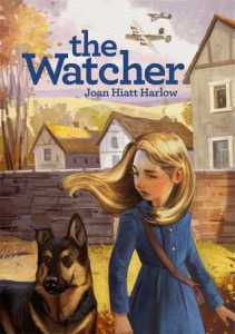 The watcher young girl with German shepherd dog war planes above houses