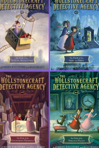 The Wollstonecraft detective Agency 4 grid two girls in hot air balloon in cemetary in old house running in palace
