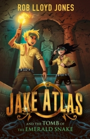 Jake Atlas and the tomb of the emerald snake boy and girl inside ancient temple with torch