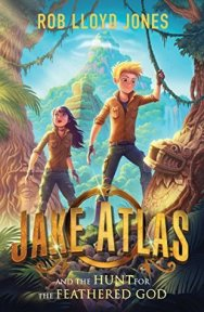 Jake Atlas and the hunt for the feathered god boy and girl with mountain in background creature's face on tree