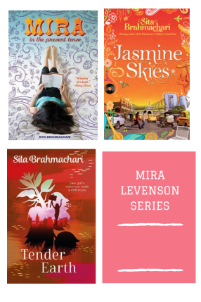 four grid Mira Levenson series in pink jasmine skies orange road scene Mira in the present tense girl reading book on back Tender earth red cover with flower shape inside girl with placard