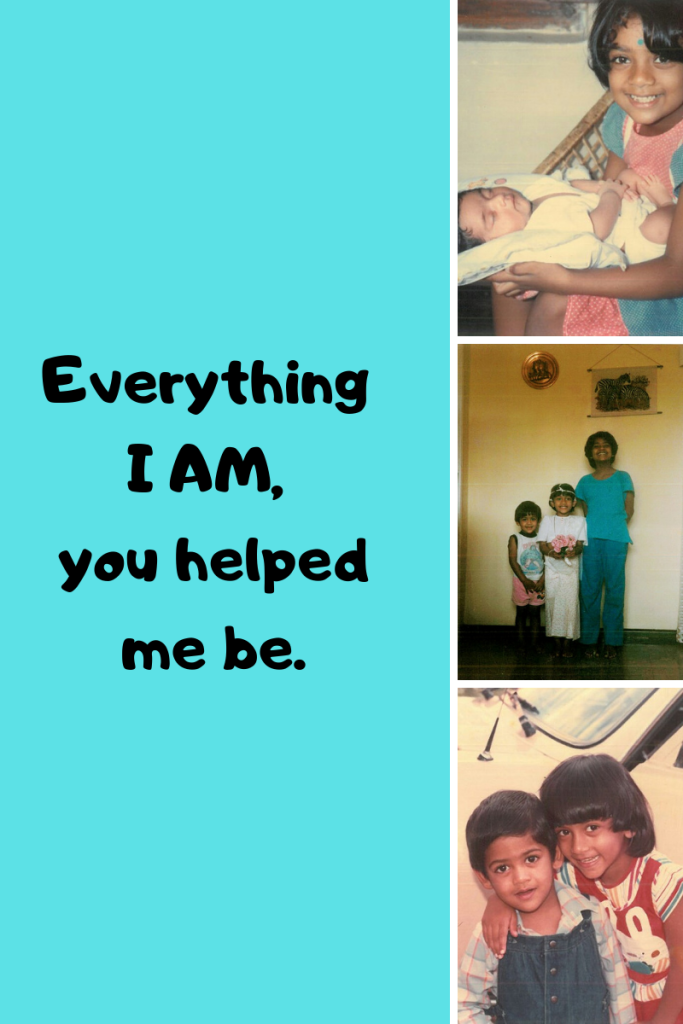 Everything I am, you helped me be. three vertical grid images. girl with baby and little kids posing