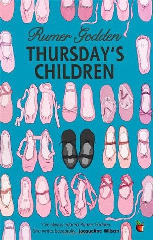 Thursday's children pink ballet shoes on blue background black pain in middle