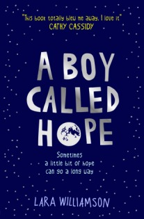 A boy called hope white writing against dark blue night sky with image of moon in Hope's O