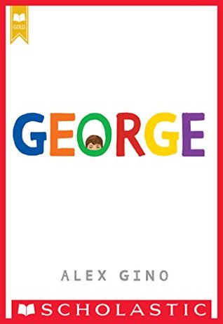 George multi-coloured letters on white background small face with just forehead peering through centre of O
