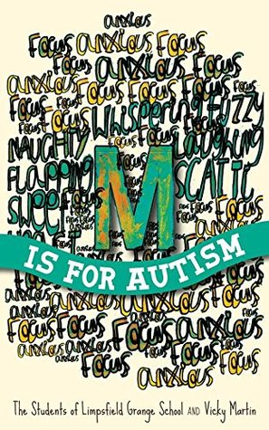 M is for autism blue/orange/green words all mingled behind title