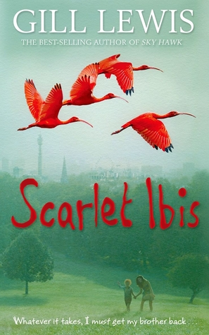 Scarlet Ibis large red ibis flying in faded sky girl and boy in park underneath