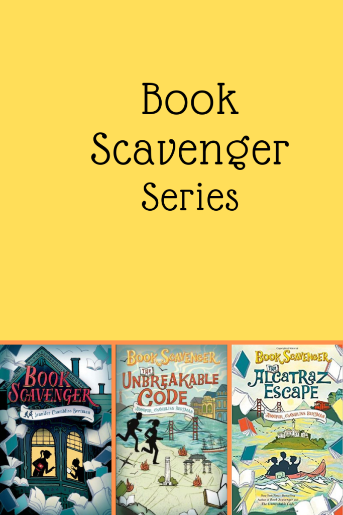 Book scavenger series large orange background three small book covers corner left Book Scavenger words on roof girl and boy silhouetted through windows Unbreakable code in middle boy and girl running on map Alcatraz Escape kids in shadow looking towards island prison in middle