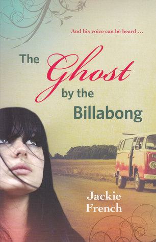 The ghost at the billabong girl with long black hair looking up blue sky and road in background red caravan on road