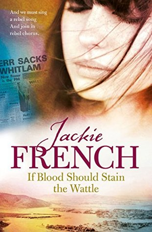 Jackie French If blood should stain the wattle girl with long dark hair eyes closed newspaper article to her side hills and fields on bottom in light pink hues