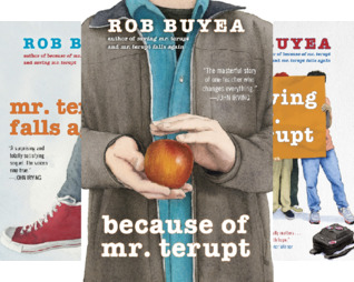 Three school story titles by Rob Buyea Mr Terupt falls again red sneaker because of Mr Terupt boy holding ball Saving Mr Terupt students behind backpack on ground