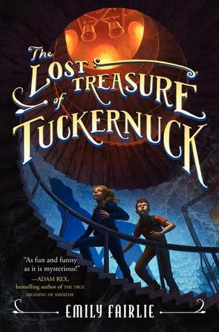 The lost treasure of Tuckernuck girl and boy climbing spiral staircase above bright orange lights