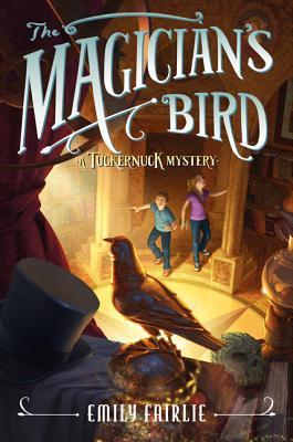 The magician's bird boy and girl by pillars bird on shelf with top hat and jewel