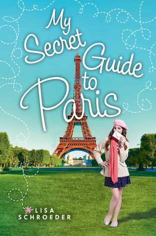 My secret guide to Paris around Eiffel tower in middle girl in pink beret and jacket in front on grass