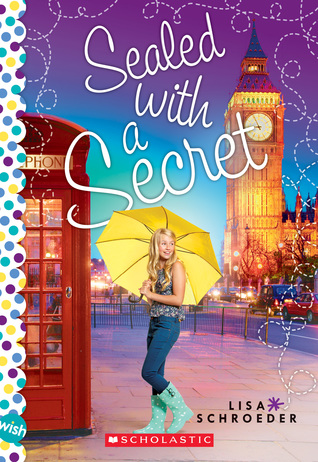 Sealed with a secret Big Ben in back young girl in blue top and jeans with yellow umbrella next to red phone box