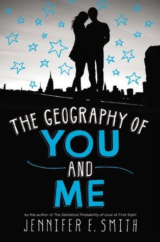 The geography of you and me words on black background on bottom of cover silhouette of couple and blue outline stars around them