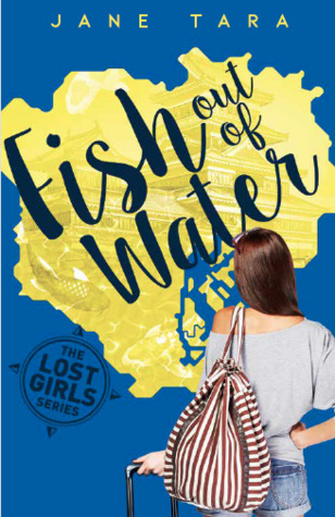 Fish out of water black words across yellow patch in blue background girl turned back holding case and strped bag on shoulder blue top and shorts