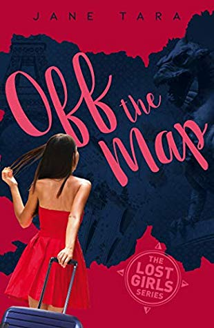 Off the map pink words across blue patch on red cover shadow of gargoyle inside girl in red strapless dress holding blue case turned back