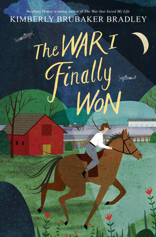 The war I finally won girl riding a horse in nighttime in field red barn by fence spotlight on her planes in background