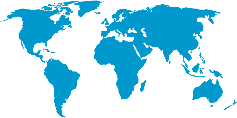 World map in blue pale oceans