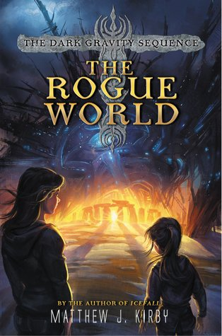 The Rogue world yello letters large black shape with tendrils above Stonehenge in distance with bright light in middle woman and girl in foreground looking at it