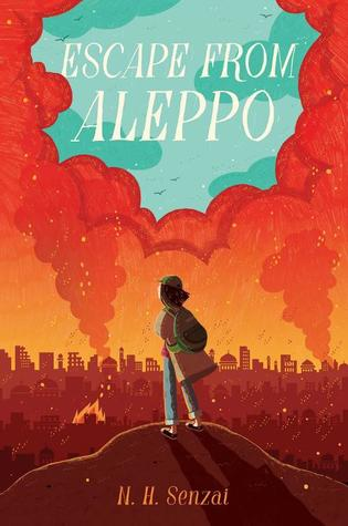 Escape from Aleppo white letters on blue sky and clouds underneath orange smoke and sky skyline with borken buildings young girl with bags looking towards city on hill