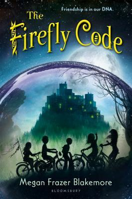 The firefly code yellow letter around top of glass dome inside darkened buildings in front silhouette figures of five kids on bikes large moon behind