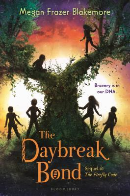 The daybreak bond orange letters at bottom large tree in middle six kids around and on it orange glow of sun behind