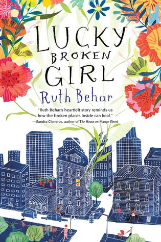 Lucky broken girl Ruth Behar colourful flowers around top of book buildings on street in blue with people walking