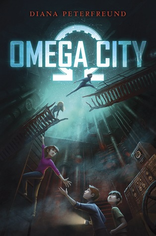 Omega City white letters in front of white omega symbol two kids jumping across broken bridge girl hanging from ladder reaching out to boys below her