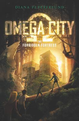 Omega city in light yellow letters omega symbol behind large buildings between trees in forest light behind four figures of kids on large log in foreground chimpanzee hanging on to branch in tree